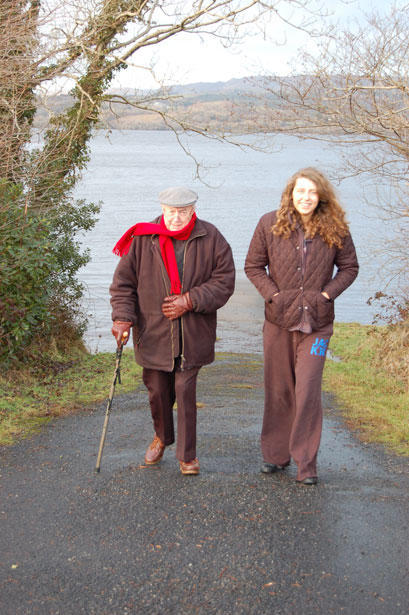 girl and grandpa-walking