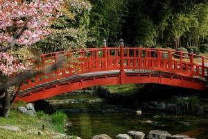 RED BRIDGE IN GARDEN